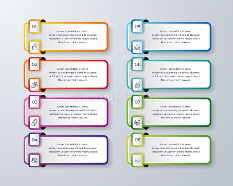 Het Infographicontwerp met 8 verwerkt of stappen Infographic voor diagram, rapport, werkschema en meer Infographic met modern en  stock illustratie