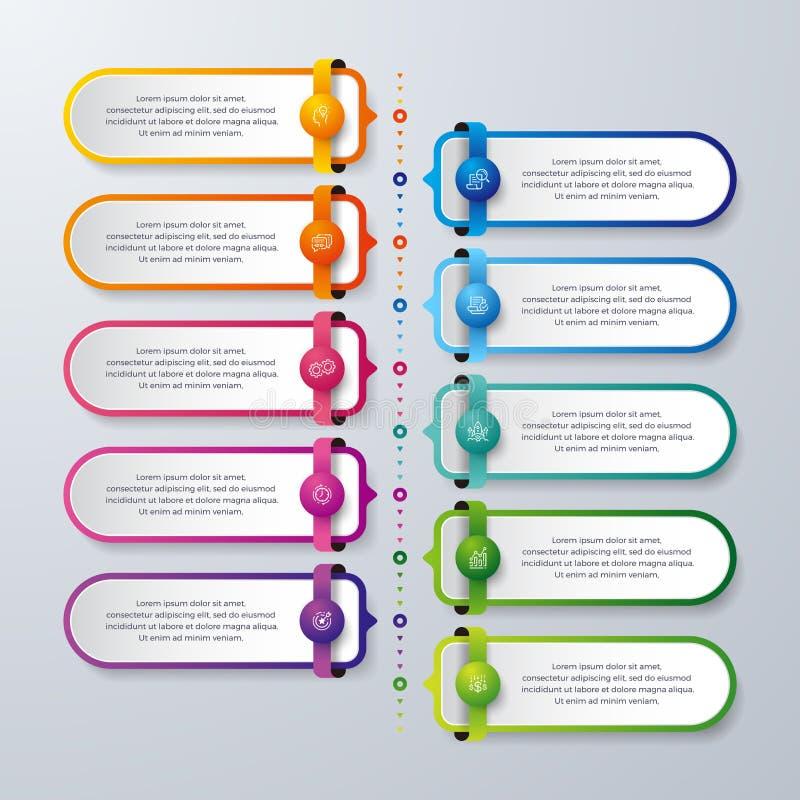 Het Infographicontwerp met 10 verwerkt of stappen Infographic voor diagram, rapport, werkschema en meer Infographic met modern en stock illustratie