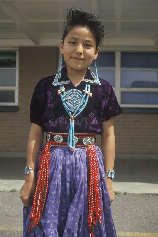 Het inheemse Amerikaanse meisje van Navajo royalty-vrije stock foto