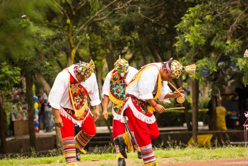 Het inheemse stam Mexicaanse voladores DE papantla het dansen spelen royalty-vrije stock foto's