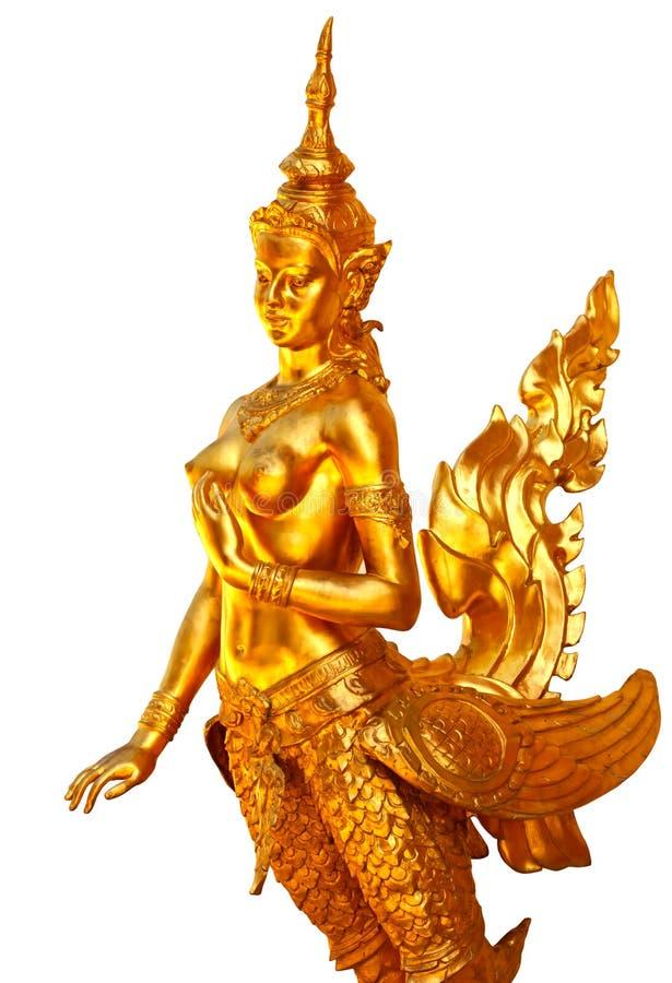 Het inheemse Thaise standbeeld van de stijlengel stock foto
