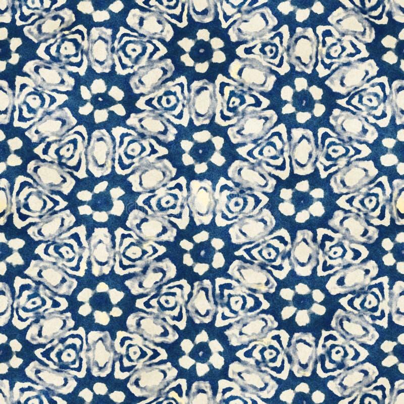 Het inheemse van de bohostijl van de batik naadloze waterverf artistieke kleurrijke vierkante patroon royalty-vrije illustratie