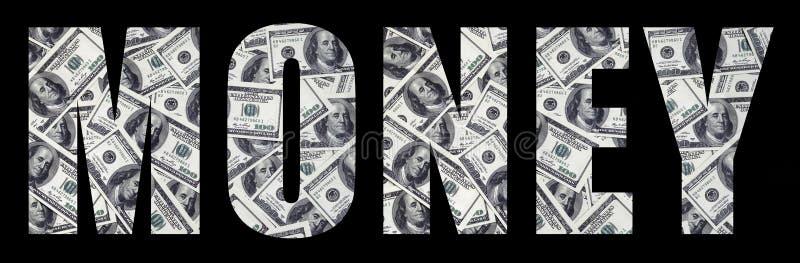 Het inschrijvings` Geld ` op een zwarte achtergrond Een patroon van de reeks verspreide dollarrekeningen als het vullen characte royalty-vrije stock afbeeldingen