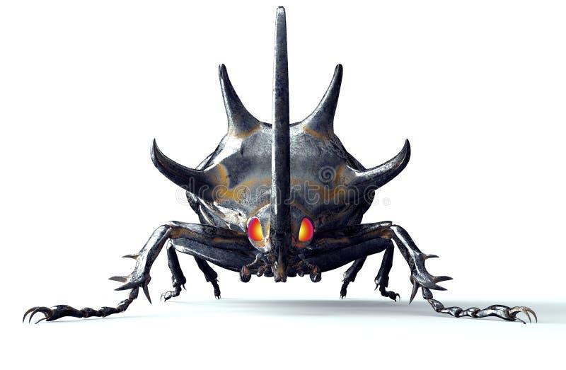 Het insect van de metaalrobot op wit met het knippen van weg stock illustratie
