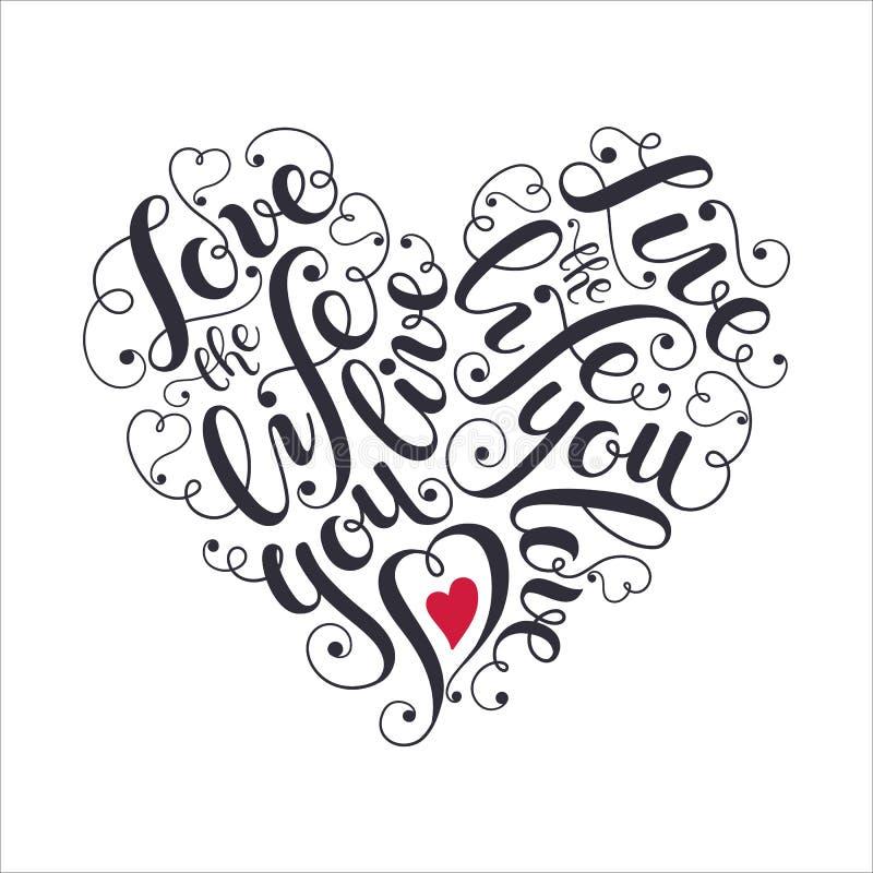 Het inspireren hart gevormde affiche vector illustratie