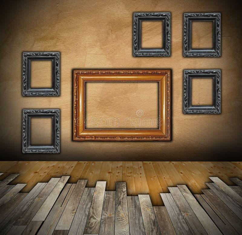 Het installeren van houten vloer op binnenlandse achtergrond royalty-vrije stock afbeelding