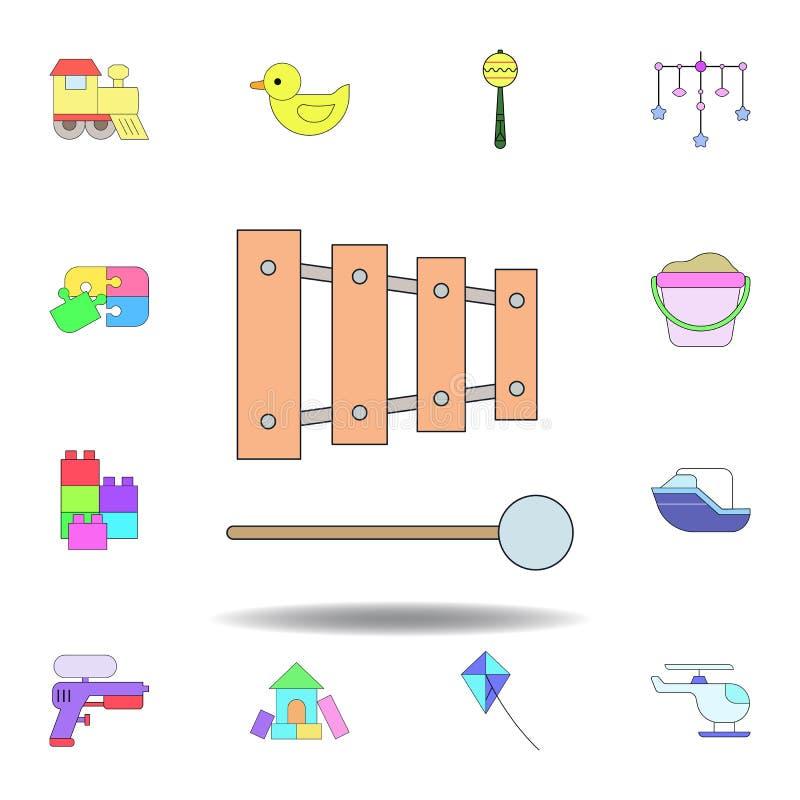 Het instrumentenstuk speelgoed gekleurd pictogram van de beeldverhaalmuziek reeks de illustratiepictogrammen van het kinderenspee vector illustratie