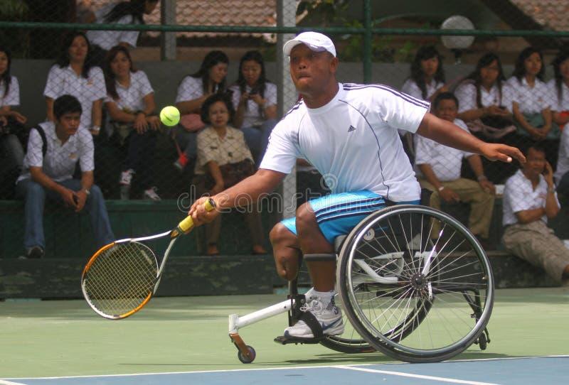 Het internationale kampioenschap van de tennisrolstoel stock afbeelding