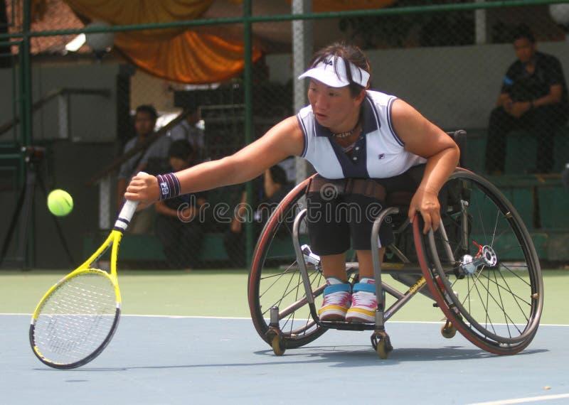 Het internationale kampioenschap van de tennisrolstoel stock foto's