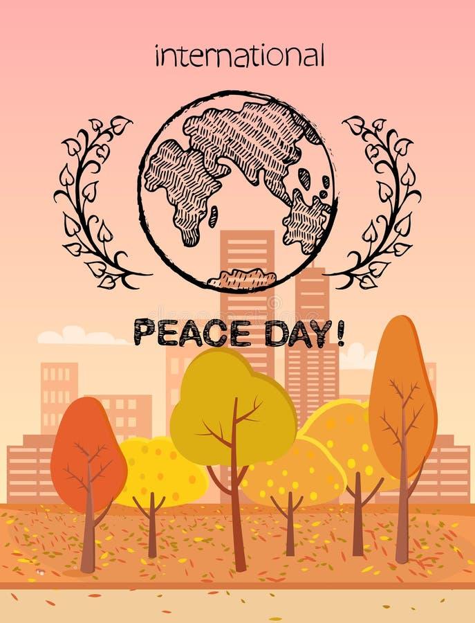Het internationale Kleurrijke Embleem van de Vredesdag met Aarde stock illustratie
