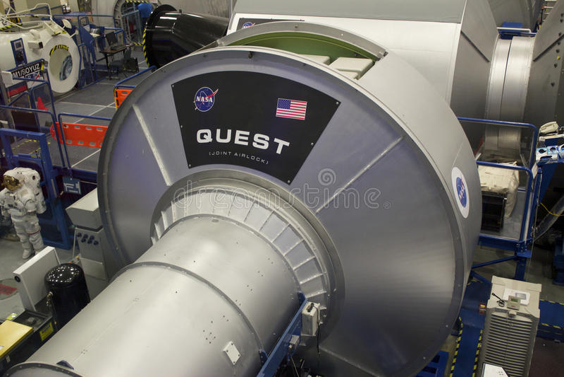 Het internationale Model van de Ruimtestationzoektocht bij NASA Johnson Space C stock foto's