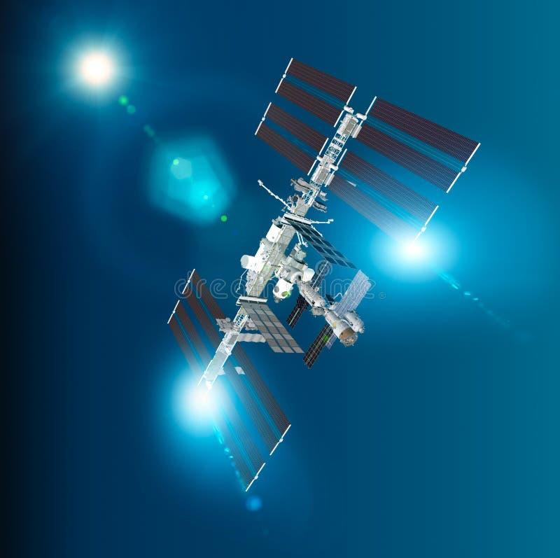 Het Internationale Ruimtestation ISS is een ruimtestation, of een bewoonbare kunstmatige satelliet, in satelliet met lage omloopb stock illustratie
