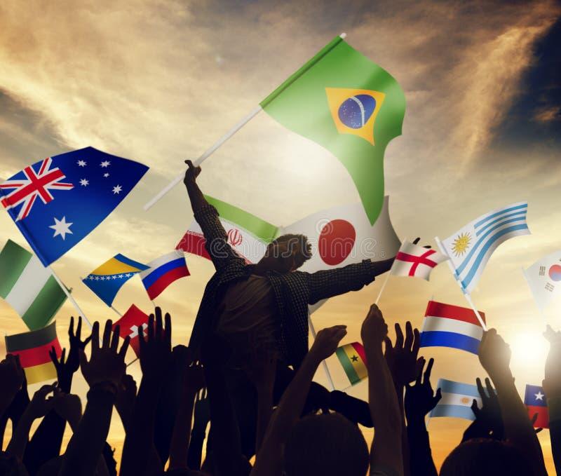 Het internationale van de de eenheidsvariatie van de vlaggensamenhorigheid concept van het de diversiteitsbehoren tot een bepaald stock afbeelding