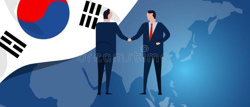 Het internationale vennootschap van Zuid-Korea Diplomatieonderhandeling De handdruk van de zakelijke relatieovereenkomst De vlag  stock illustratie