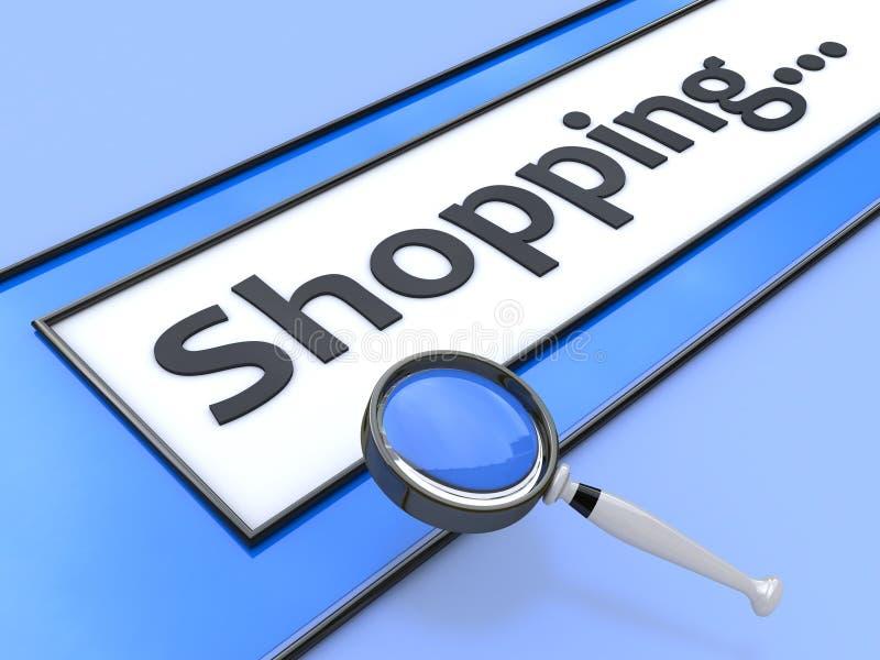 Het Internet-het winkelen adres zoek royalty-vrije illustratie