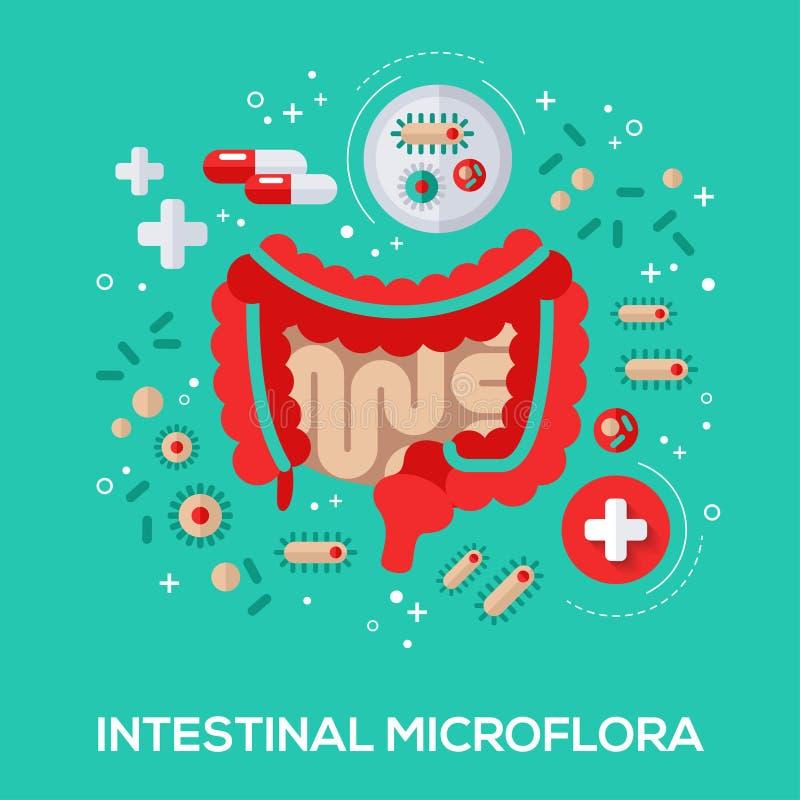 Het intestinale concept van micro-flora vlakke pictogrammen royalty-vrije illustratie