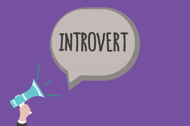 Het Introvert van de handschrifttekst De conceptenbetekenis neigt te zijn het binnenkomende draaien of concentreerde meer interne vector illustratie