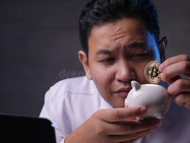 Het investeren in het Concept van Bitcoin Cyptocurrency stock afbeelding