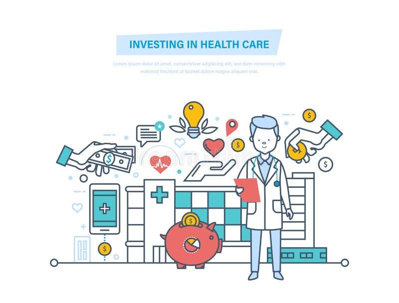 Het investeren in gezondheidszorg en moderne geneeskunde Het verbeteren van kwaliteit van de dienst royalty-vrije illustratie