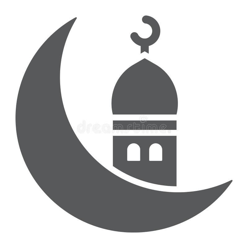 Het Islamitische ramadan glyphpictogram, Arabisch en islam, ramadam kareem ondertekenen, vectorafbeeldingen, een stevig patroon o vector illustratie