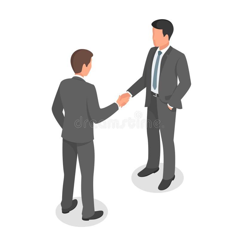 Het isometrische bedrijfsmensen schudden dient overeenkomst en het maken in stock illustratie