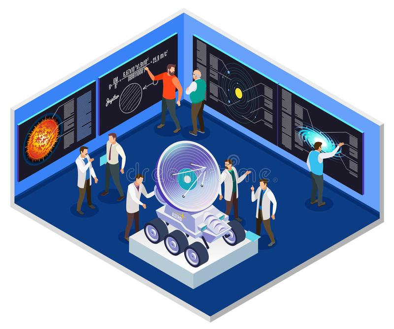 Het Isometrische Binnenland van het astrofysicaOnderzoekscentrum royalty-vrije illustratie