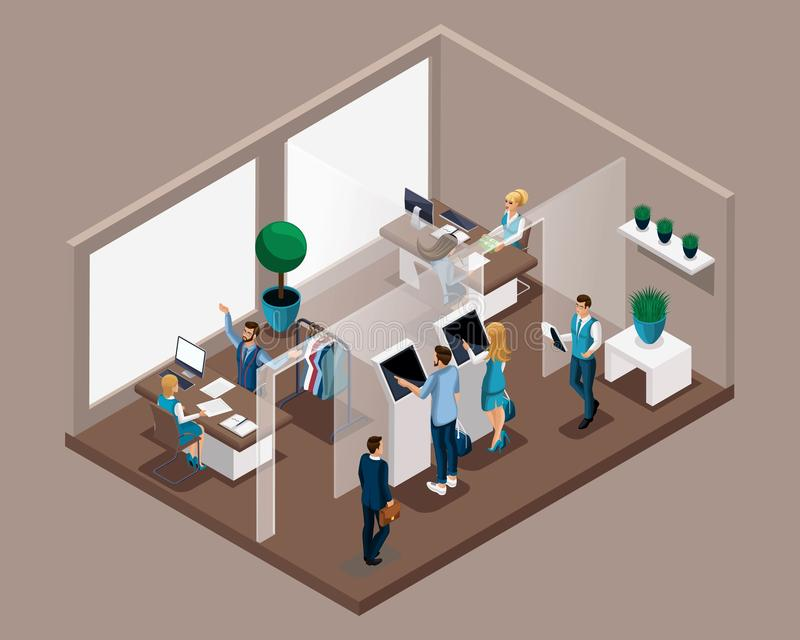 Het isometrische bureau van de bank, bankbedienden dient klanten, elektronische rij, ingang aan ontvangst De bankadviseur vertelt stock illustratie
