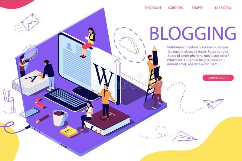Het isometrische concept creatieve schrijven of het blogging, royalty-vrije illustratie