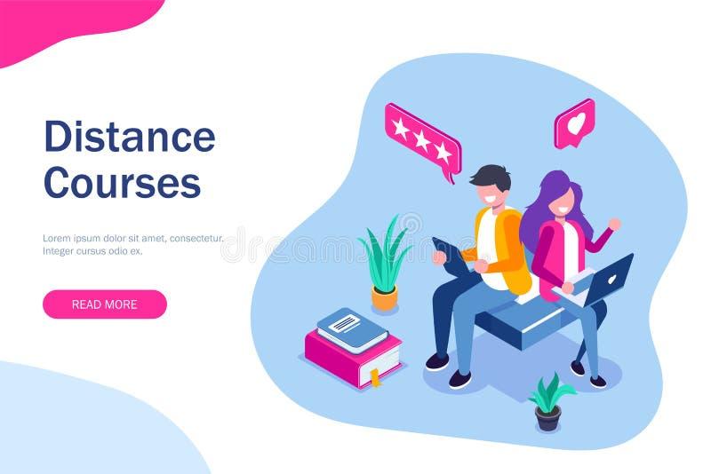 Het isometrische concept van afstandscursussen e-lerende illustratie voor Web Man en Vrouwen het verlof koppelt over de opleiding vector illustratie