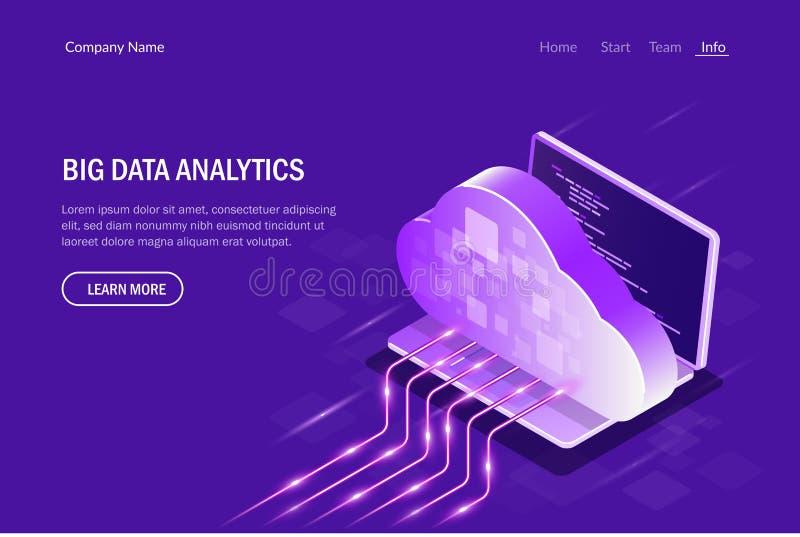 Het Isometrische Concept van Big Data Analytics SMAU 2010 - de wolk van Microsoft gegevensverwerking Gegevens het stromen De Vect stock illustratie