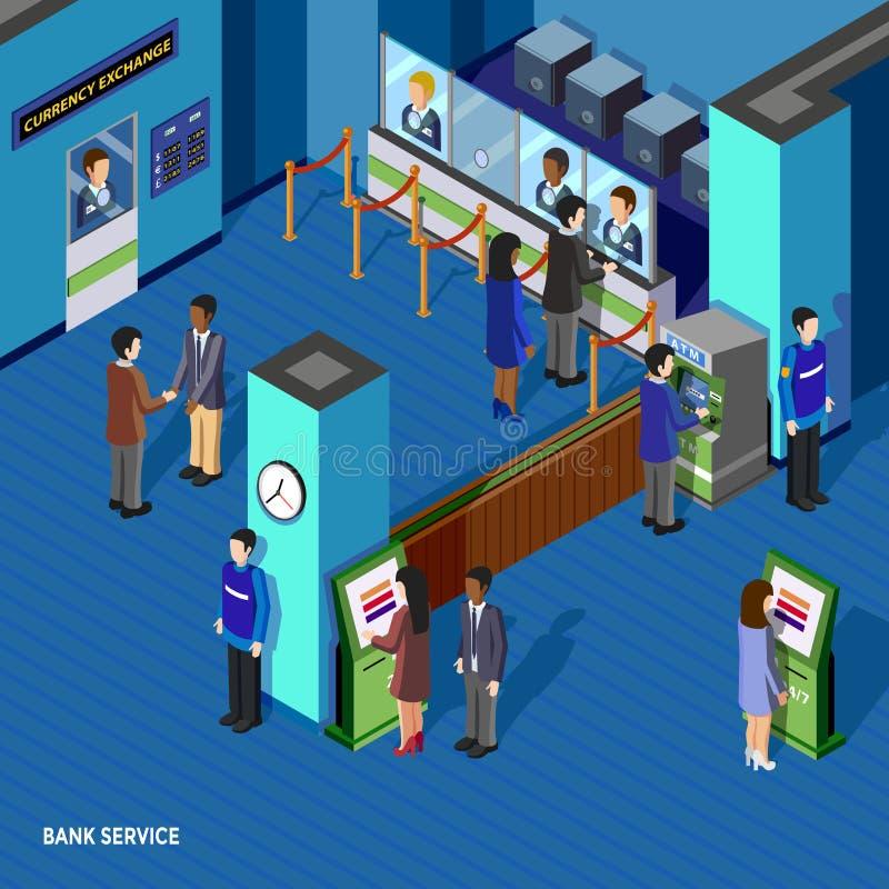Het Isometrische Concept van de bankdienst vector illustratie
