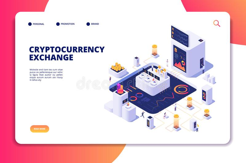 Het isometrische concept van de Cryptocurrencyuitwisseling Blockchainuitwisseling, crypto handelstransacties Digitale economievec stock illustratie
