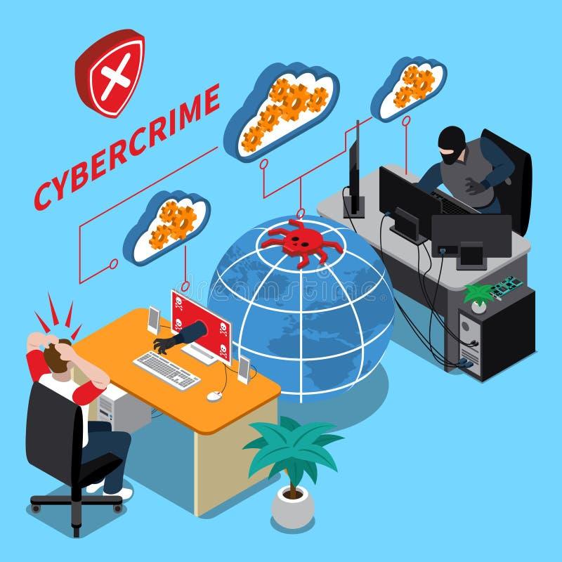 Het isometrische concept van de Cybermisdaad royalty-vrije illustratie