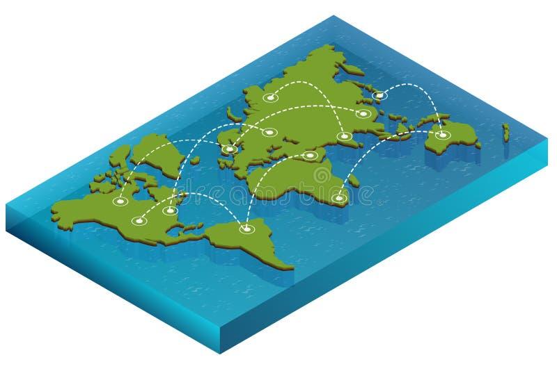 Het isometrische concept van de kaartwereld 3d vlakke illustratie van Kaartwereld De vectorkaart van de de verbindings Politieke  vector illustratie