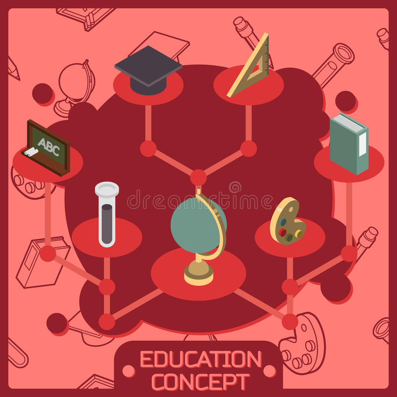 Het isometrische concept van de onderwijskleur vector illustratie