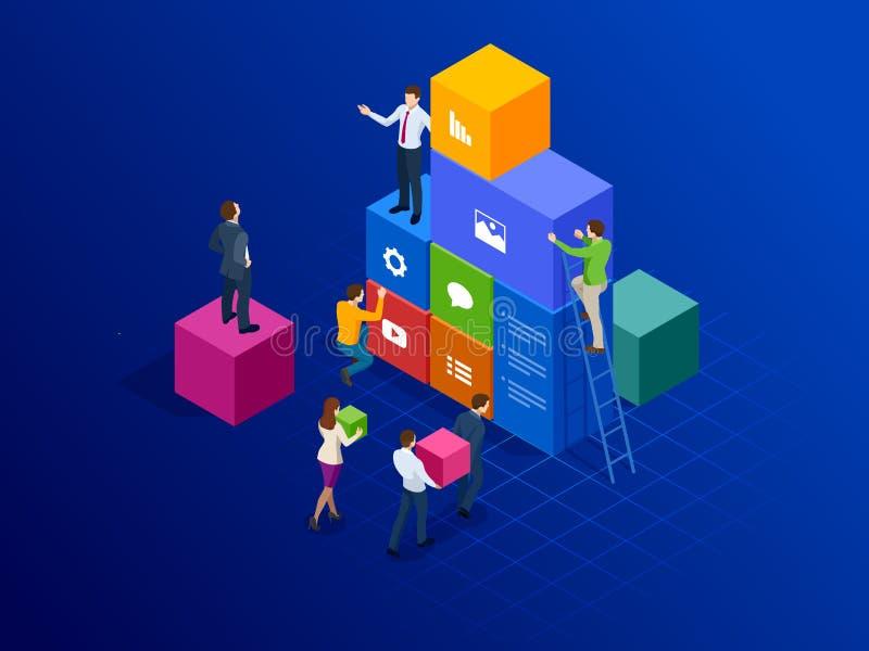 Het isometrische concept van de plaatsverwezenlijking Het webpaginaontwerp en de ontwikkeling, mensen werken bij het creëren van  vector illustratie