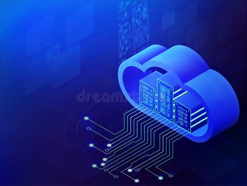 Het Isometrische concept van de wolkentechnologie, de Moderne gegevens verwerkende diensten De geïntegreerde digitale opslag van  royalty-vrije illustratie