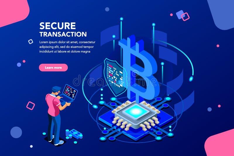 Het Isometrische Concept van Haking van de Cryptocurrencyserver vector illustratie