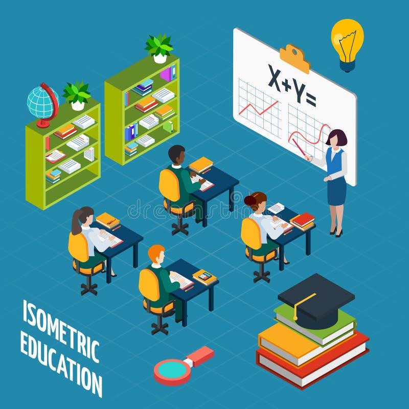 Het Isometrische Concept van het schoolonderwijs stock illustratie