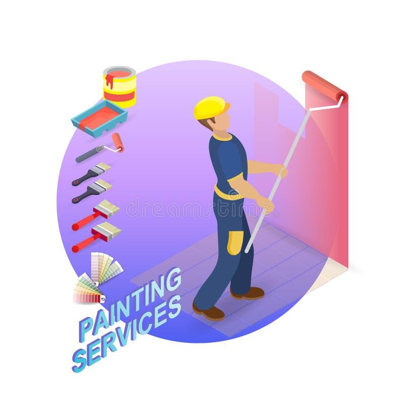 Het isometrische concept van huisreparaties De decorateur schildert stock illustratie