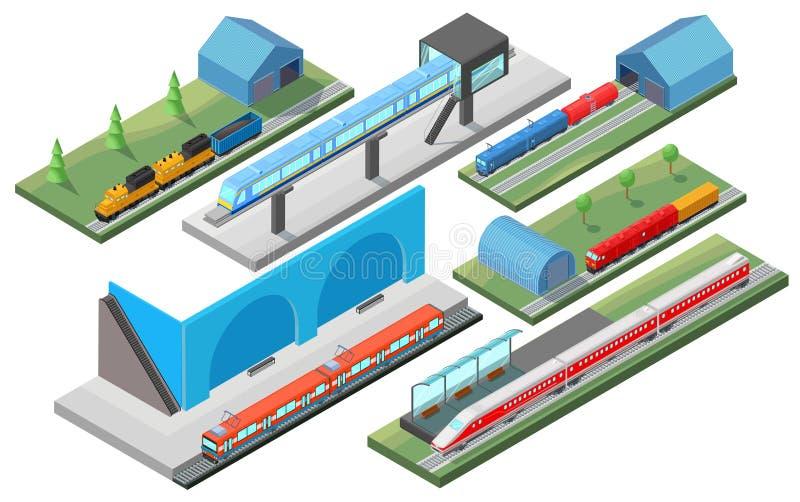 Het isometrische Concept van het Spoorwegvervoer stock illustratie