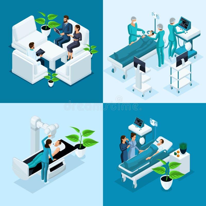 Het isometrische conceptenziekenhuis, Medisch MRI-Aftasten, Werkende Zaal met Artsen, Fluorography-Proces, Chirurg Office, privé  vector illustratie