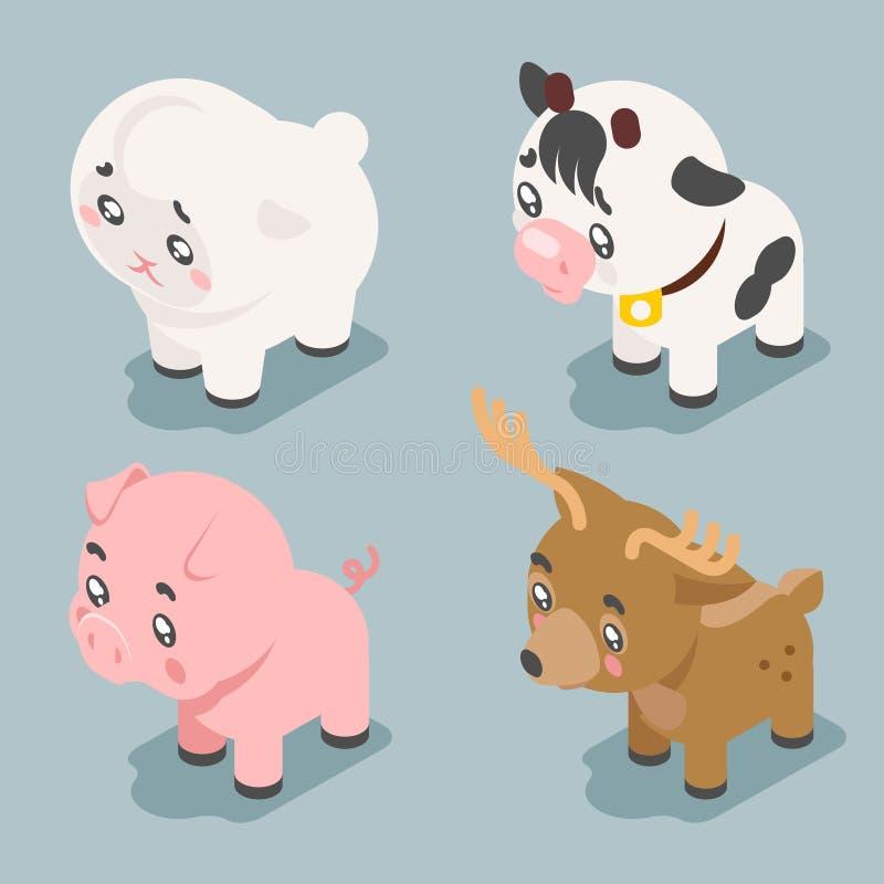 Het isometrische 3d leuke beeldverhaal van babydieren werpt vlakke ontwerppictogrammen geplaatst karakter vectorillustratie royalty-vrije illustratie