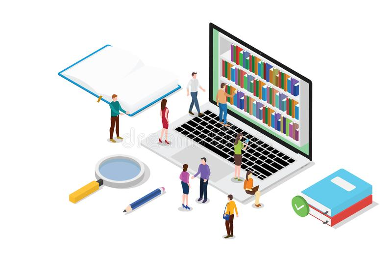 Het isometrische 3d online lezingsconcept met boeken of ebooks de inzameling met teammensen leest met moderne vlakke stijl - vect royalty-vrije illustratie