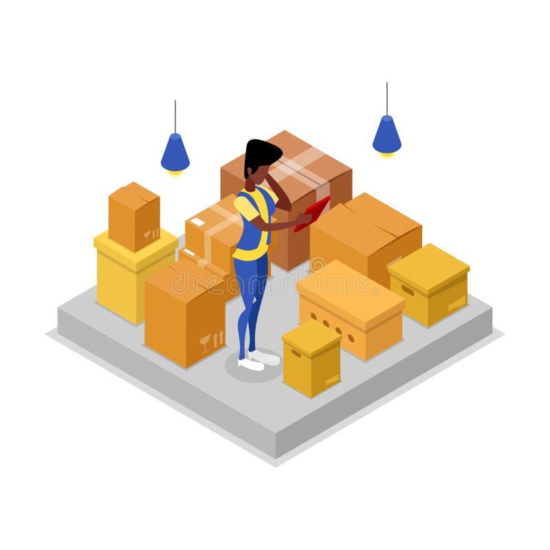 Het isometrische 3D pictogram van het leveringsbedrijf vector illustratie