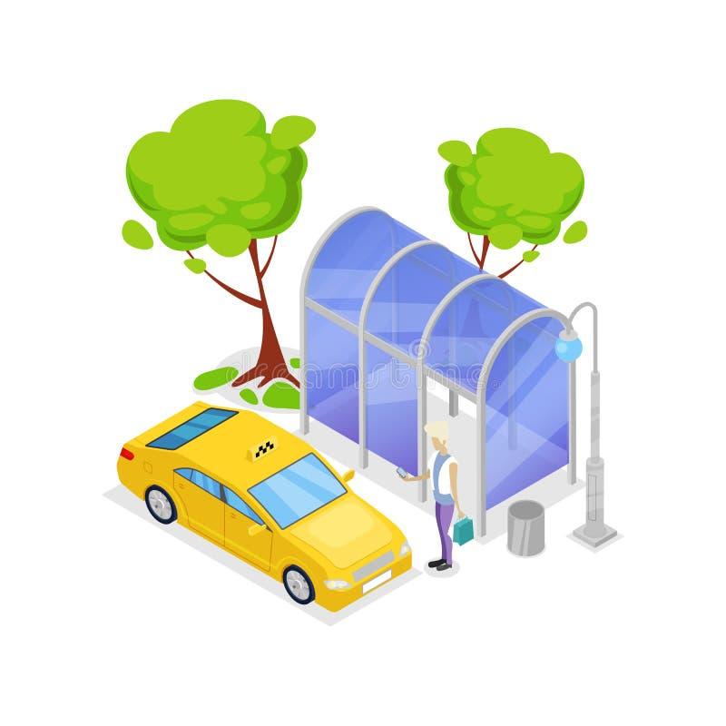 Het isometrische 3D pictogram van het taxieinde stock illustratie