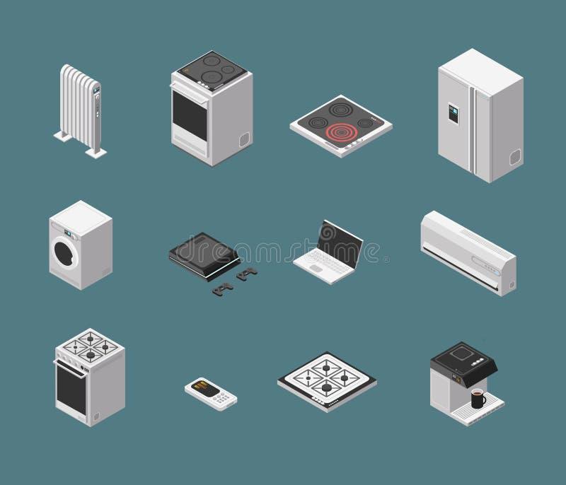 Het isometrische 3d toestel van de huishoudenkeuken en het elektromateriaal isoleerden vectorreeks royalty-vrije illustratie