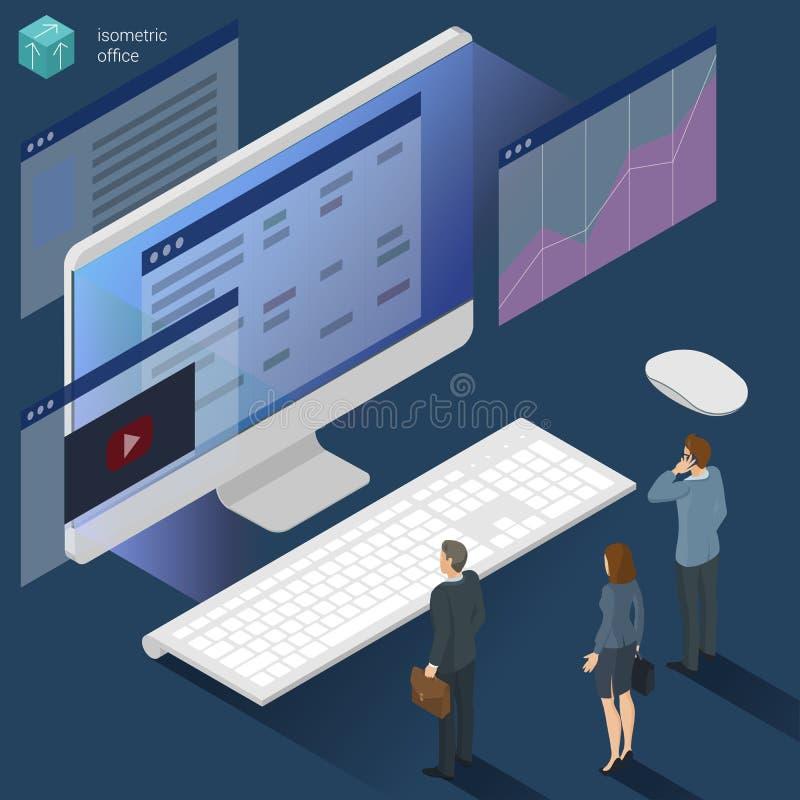 Het isometrische 3d vlakke werk van het ontwerp vectorbureau stock illustratie
