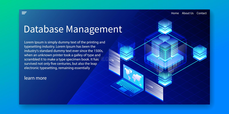 Het isometrische Databasebeheer, beheert informatie systemMIS concept, Webmalplaatje, vectorillustratie vector illustratie