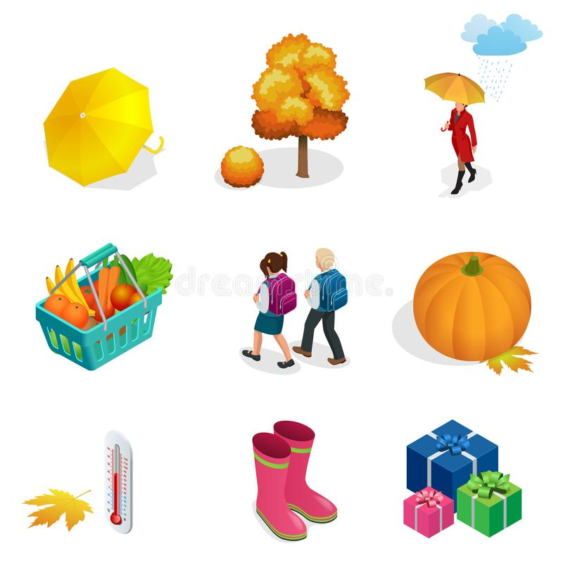Het isometrische de de Herfstpictogram en voorwerpen plaatsen voor ontwerppompoen, thermometer, vrouw met een paraplu in de regen vector illustratie
